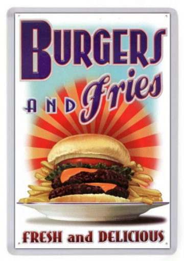 Burgers and Fries Fridge Magnet. Retro Diner Sign. Americana. Fast Food